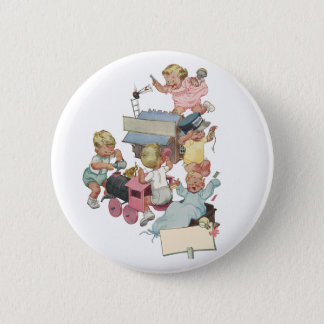 Vintage Children Having Fun Playing w Toy Trains Button