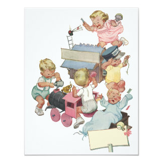 Vintage Children Having Fun Playing w Toy Trains Card