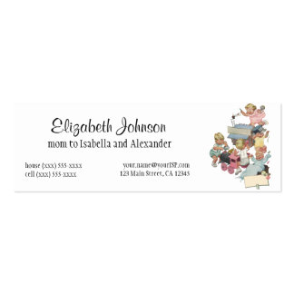 Vintage Children Having Fun Playing w Toy Trains Double-Sided Mini Business Cards (Pack Of 20)