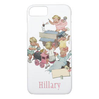 Vintage Children Having Fun Playing w Toy Trains iPhone 8/7 Case