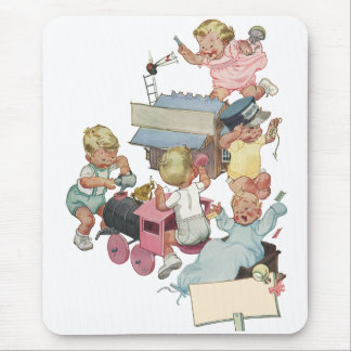 Vintage Children Having Fun Playing w Toy Trains Mouse Pad