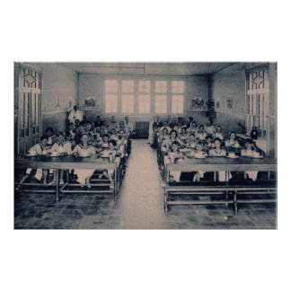 Vintage children in class room eating soup poster