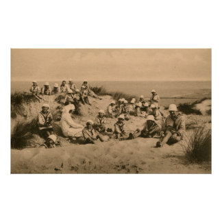 Vintage children in sailor suits in the dunes poster