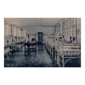 Vintage children in sanatorium hospital beds poster