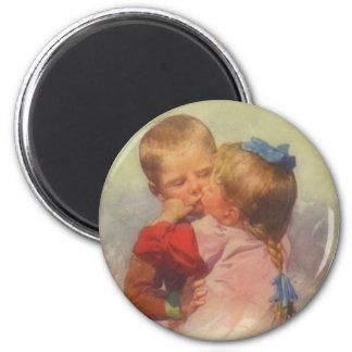 Vintage Children Kissing Art, Karl Feiertag 1910 2 Inch Round Magnet