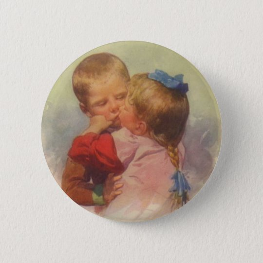 Vintage Children Kissing Art, Karl Feiertag 1910 Button