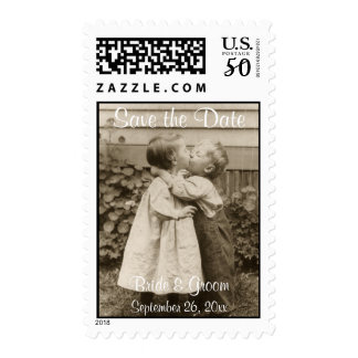 Vintage Children Kissing in a Garden Save the Date Postage