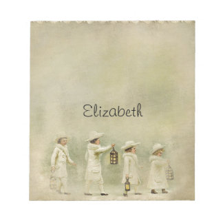 Vintage Children Lanterns Snow Notepad