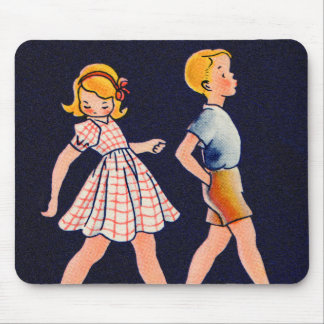 Vintage Children Little Girl and Boy 1920s Mouse Pad