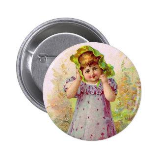 Vintage Children Little Girl Victorian Art Button