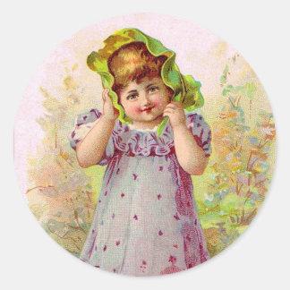 Vintage Children Little Girl Victorian Art Classic Round Sticker