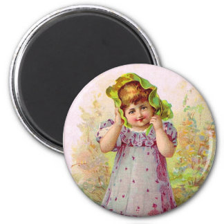 Vintage Children Little Girl Victorian Art Magnet