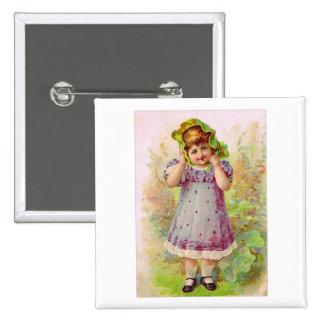 Vintage Children Little Girl Victorian Art Pinback Button