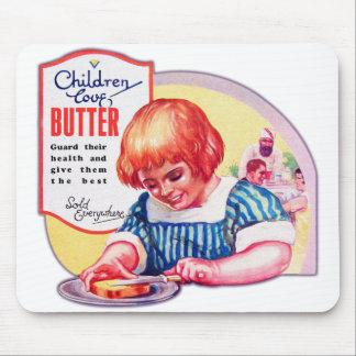Vintage Children Love Butter Deco Ad Illustration Mouse Pad