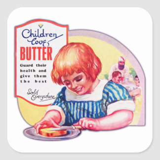 Vintage Children Love Butter Deco Ad Illustration Square Sticker