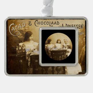 Vintage Children Mixing Cocoa Silver Plated Framed Ornament