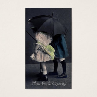 Vintage Children Oil Painting Photo Business Card