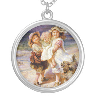 Vintage Children on the Beach Silver Plated Necklace