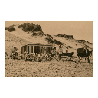 Vintage children on the beach with donkey poster