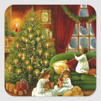 Vintage Children Opening Christmas Gifts Square Sticker