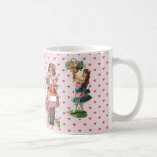 Vintage Children - Pink Hearts Background Coffee Mug