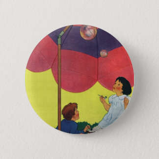 Vintage Children Play Girl and Boy Blowing Bubbles Button