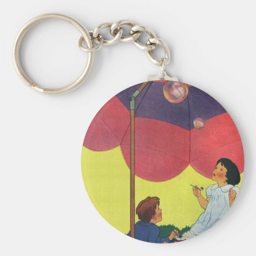 Vintage Children Play Girl and Boy Blowing Bubbles Key Chain