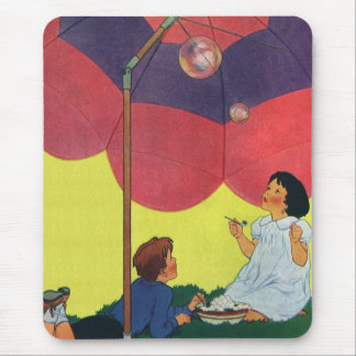 Vintage Children Play Girl and Boy Blowing Bubbles Mouse Pad