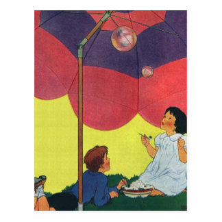 Vintage Children Play Girl and Boy Blowing Bubbles Postcard