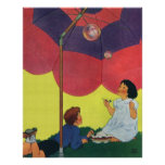 Vintage Children Play Girl and Boy Blowing Bubbles Posters