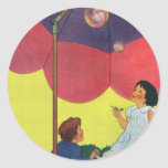 Vintage Children Play Girl and Boy Blowing Bubbles Classic Round Sticker