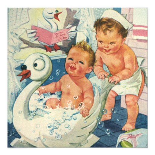 Vintage Children Playing Bubble Bath, Baby Shower Personalized Invitation