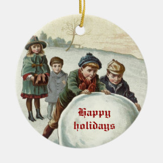 Vintage Children playing in winter Ceramic Ornament