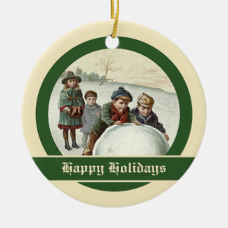 Vintage children playing in winter Double-Sided ceramic round christmas ornament