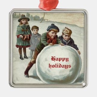 Vintage Children playing in winter Square Metal Christmas Ornament