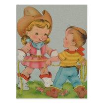 Vintage children playing postcard