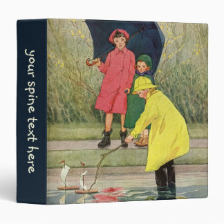 Vintage Children Playing Puddles Toy Boats Rain 3 Ring Binder