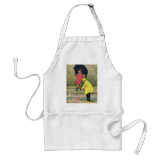 Vintage Children Playing Puddles Toy Boats Rain Adult Apron