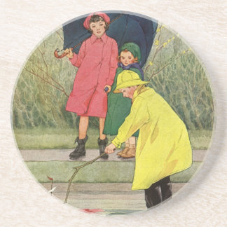 Vintage Children Playing Puddles Toy Boats Rain Coaster