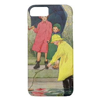 Vintage Children Playing Puddles Toy Boats Rain iPhone 8/7 Case