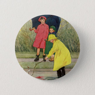 Vintage Children Playing Puddles Toy Boats Rain Pinback Button