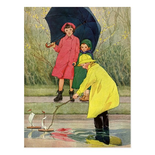 Vintage Children Playing Puddles Toy Boats Rain Postcard
