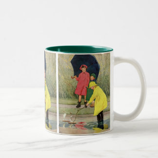 Vintage Children Playing Puddles Toy Boats Rain Two-Tone Coffee Mug