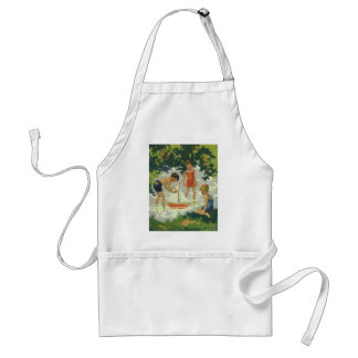 Vintage Children Playing Toy Sailboats Summer Pond Adult Apron