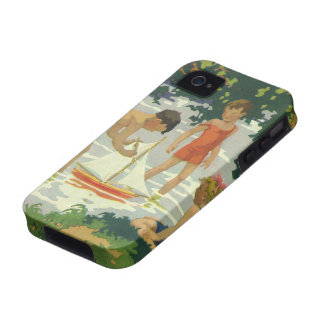 Vintage Children Playing Toy Sailboats Summer Pond Vibe iPhone 4 Cases