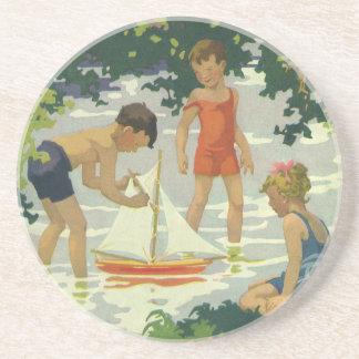 Vintage Children Playing Toy Sailboats Summer Pond Drink Coaster