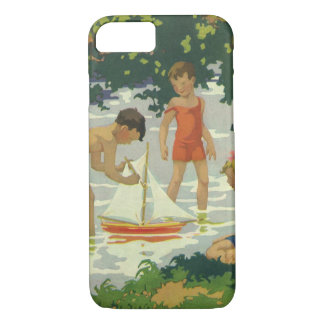 Vintage Children Playing Toy Sailboats Summer Pond iPhone 8/7 Case