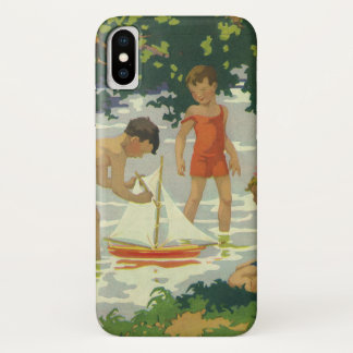Vintage Children Playing Toy Sailboats Summer Pond iPhone X Case