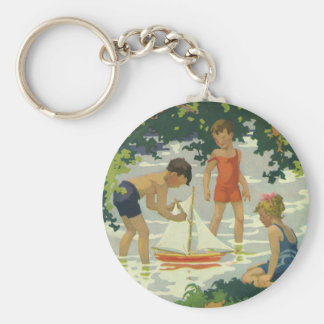 Vintage Children Playing Toy Sailboats Summer Pond Keychains