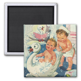Vintage Children Playing w Bubbles in Swan Bathtub 2 Inch Square Magnet